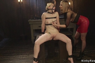 Lesbian slave anal fingered and spanked
