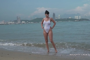 Naughty Lada · White one-piece transparent when wet swimsuit