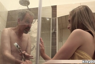 Hot teen joins to grandpa in the shower