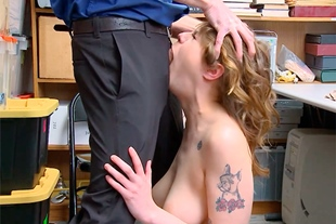 Busty brunette facefucked for stealing