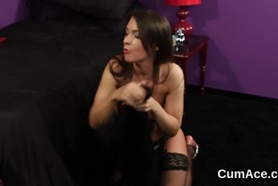 Spicy beauty gets cumshot on her face gulping all the j