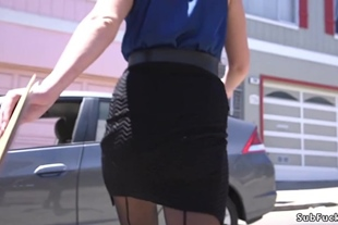 Blonde estate agent gagged and anal banged