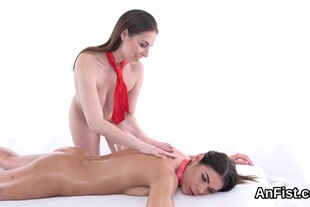 Foxy lesbian babes are fisting spread snatches and anal